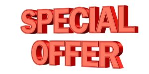 Red lettering stating Special Offer
